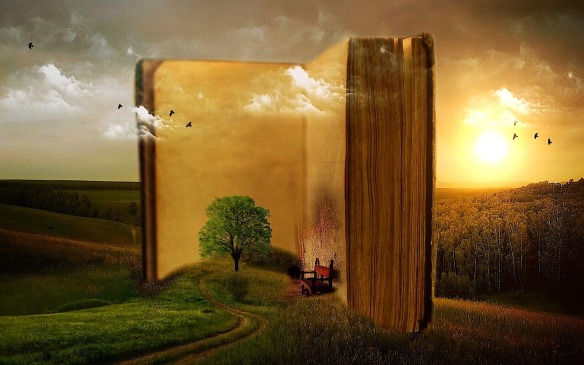 conceptual idea with an open book standing on a hillside, with clouds above and 3D images of a chair and trees within the book