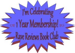 blue starburst badge for one year of membership with Rave Reviews Book Club