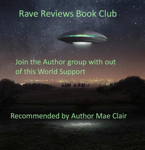 A spaceship at night hovering over a dark hillside with text stating the Rave Reviews Book Club offers out of this world support