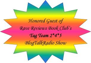 Colorful starburst badge displaying appearance on the Rave Reviews Book Club Tag Team Blog Talk Radio Show