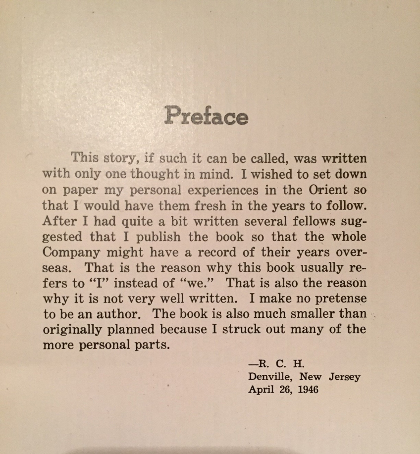 Typeset author's preface page of an old journal from 1946