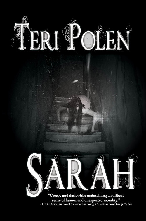 Book cover for the novel SARAH shows girl with long black hair hiding her face crawling down steps from attic door