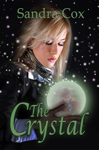Book cover for The Crystal by author Sandra Cox shows an beautiful young woman staring into a crystal ball which contains the image of a main