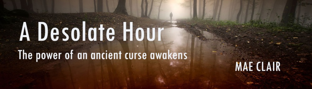 Header image for A Desolate Hour by Mae Clair showing a man standing in a dark mysterious forest with bloody lake in foreground