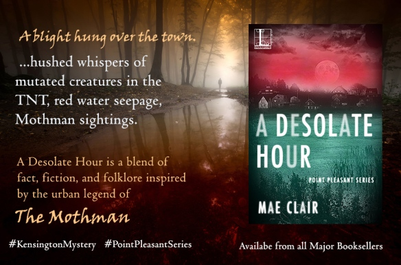Banner ad for A Desolate Hour by Mae Clair features Man standing in a dark mysterious forest with bloody lake in foreground