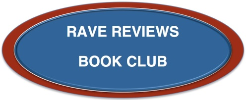 Oval logo for Rave Reviews Book Club, white letters on blue oval with red border