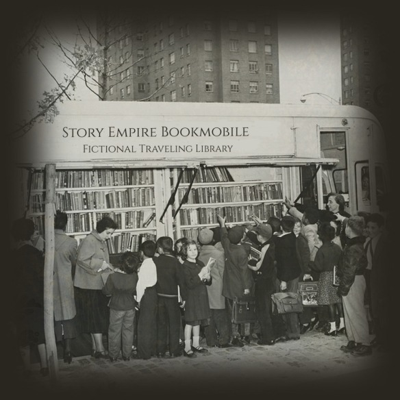 vintage photo of a bookmobile with crowd gathered around it