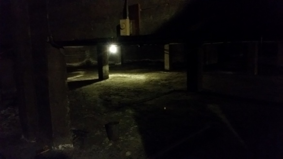 dark basement room of old church