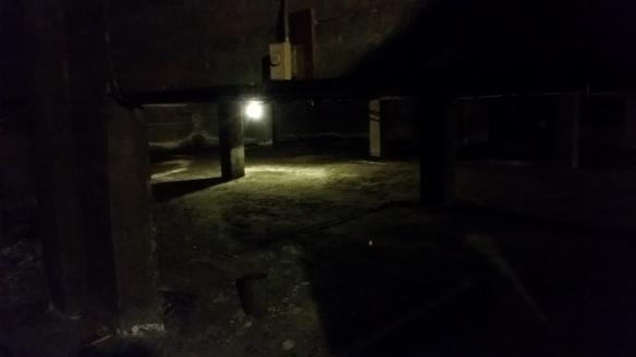 dark basement room of old church