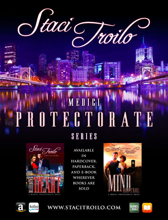 display ad for the Medici Protectorate book series by Staci Troilo