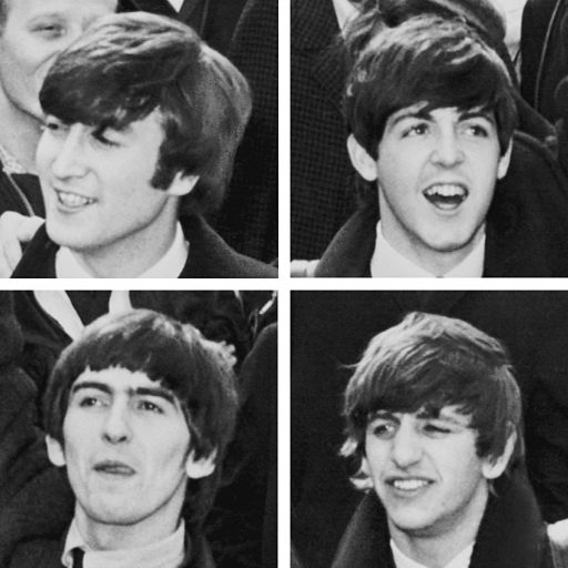Photo collage with head shots of The Beatles