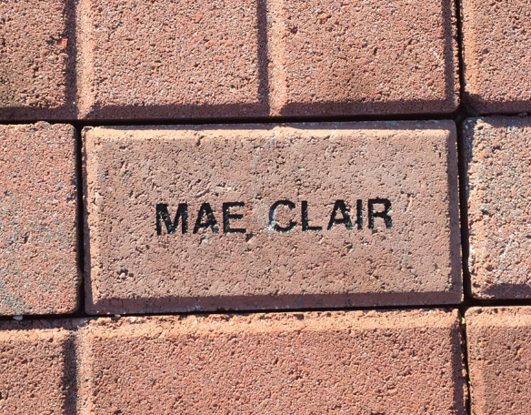 Brick that says Mae Clair