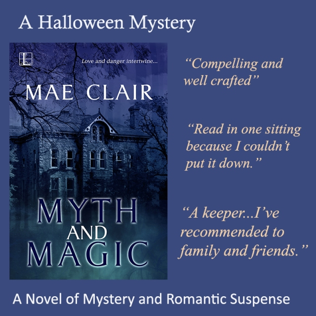 Cover of Myth and Magic, a romantic suspense novel by Mae Clair, Includes snippets of reviews in a colorful ad