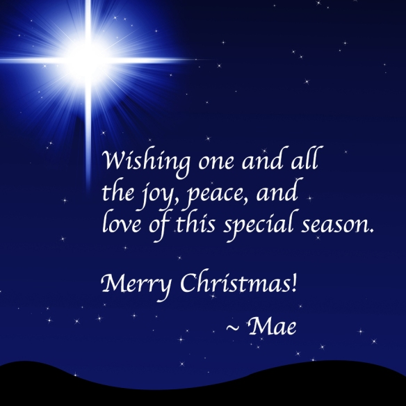 Star of Bethlehem on night sky over dark hills with wishes for a Merry Christmas from author Mae Clair