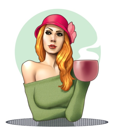 Lisa Burton artwork shows Lisa in a green off-the-shoulder sweater, wearing a pink hat and drinking a steaming beverage from a cup