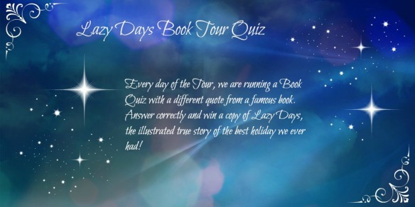 banner for Lazy Days Book tour Quiz with starry sky background