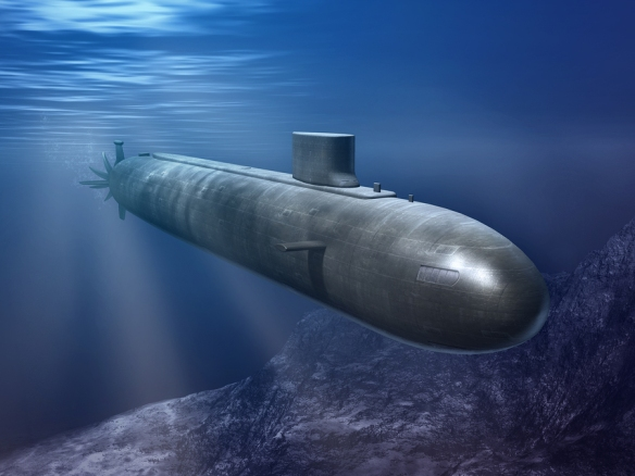 Nuclear submarine in a deep blue sea. Digital illustration.