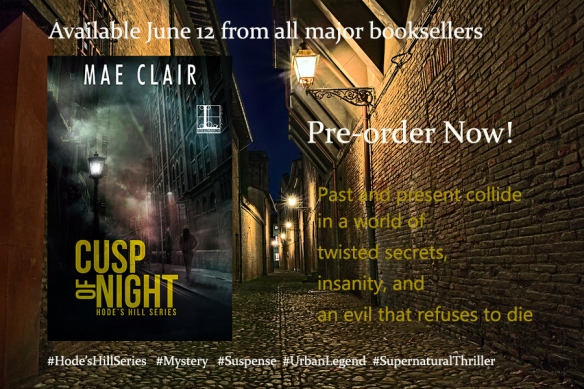 Banner ad for cusp of Night, a mystery/suspense novel by author, Mae Cllair