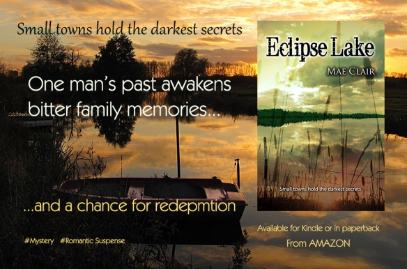 Banner ad for Eclipse Lake, a a romantic suspense/mystery novel by Mae Clair