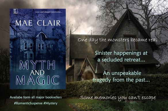 Banner ad for Myth and Magic a romantic suspense/mystery novel by Mae Clair