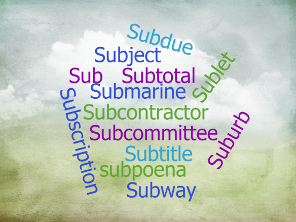 "a word cloud of various words beginning with ""sub"""