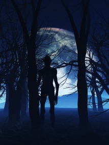 silhouette of creature in the woods at night, full moon in background