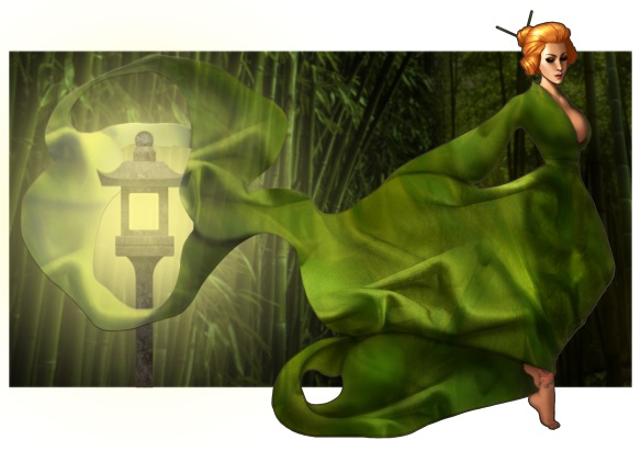 Lisa Burton, a character created by author C. S. Boyack, wearing flowing green silk gown with old fashioned street lantern in background. Lisa's hair is in a Japanese style bun