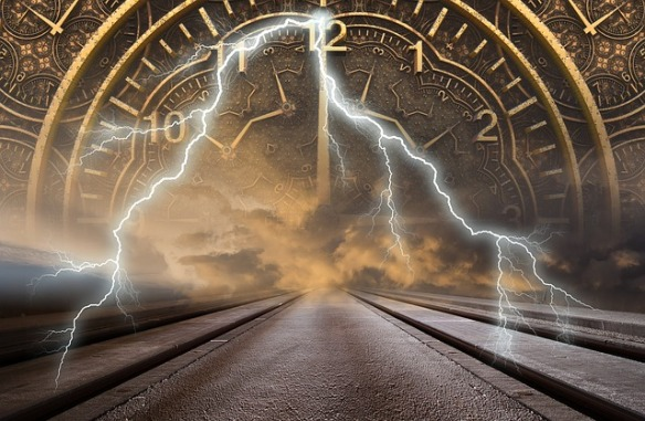 old fashioned clock face superimposed at end of road , lightning flashing down from sky