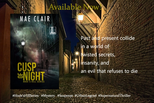 book banner ad for Cusp of Night by Mae Clair shows dark alley with old fashioned streetlamps