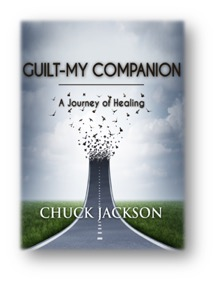 Book cover for Guilt--My Companion by Chuck Jackson shows roadway lifting into sky and breaking into pieces