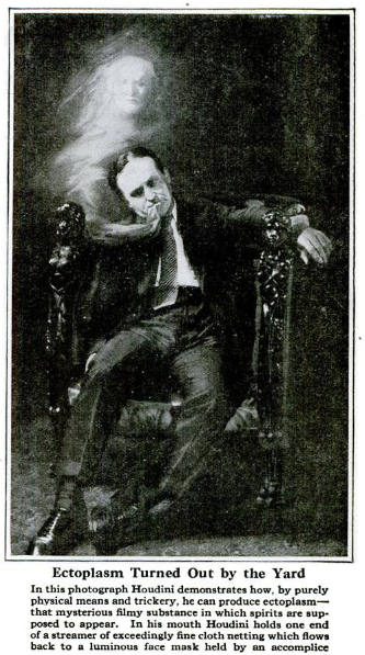 Harry Houdini demonstrates how a medium might produce ectoplasm using a streamer of fine cloth