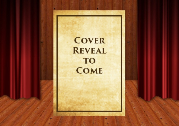 stage with red curtains open in center and blank book cover in center stage