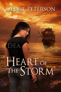 Book cover for Heart of the Storm by Debbie Peterson shows girl in foreground wearing a DEA t-shirt with old clipper ship in background on a sunset sea
