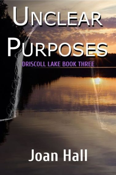 xBook cover for Unclear Purposes by Joan Hall shows a lake at sundown with dark treelike in background
