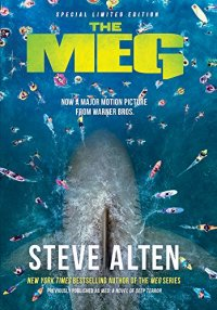 Book cover for The Meg shows a behemoth shark under water, many small boats above