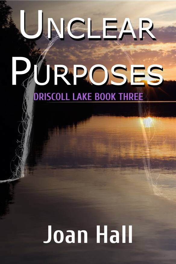 Book cover for Unclear uses shows setting sun reflecting off lake, dark tree line in background, ghost outline of woman's head and shoulders in foreground