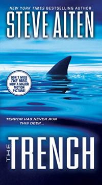 Book cover for The Trench by Steve Alten shows a shari's dorsal fin cutting through water
