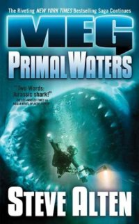 book cover for Primal Waters by Steve Allen shows diver in scuba gear about to be swallowed in the open mouth of a mammoth shark