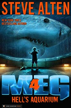 Book cover for Meg: Hell's Aquarium by Steve Alten shows small child standing in front of aquarium with colossal shark