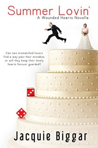 Book cover for Summer Lovin' shows three tier wedding cake, bride on top tier with groom jumping from tier, two red dice below