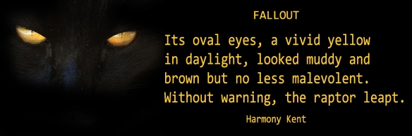 Banner ad for Fallout, a novel by Harmony Kent shows gleaming gold eyes on black background