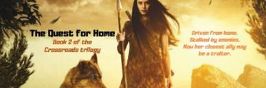 Banner ad for The Quest for Home by author, Jacqui Murray, shows prehistoric woman with long dark hair holding spear, wolf by her side