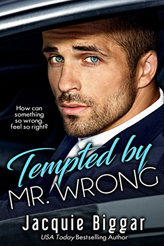 Book cover for Tempted by Mr. Wrong by Jacquie Biggar shows close up of handsome man with beard scruff, mustached and blue eyes in profile,