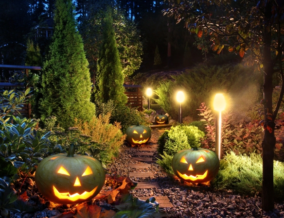 Illuminated home garden path patio lights with halloween pumpkin lanterns