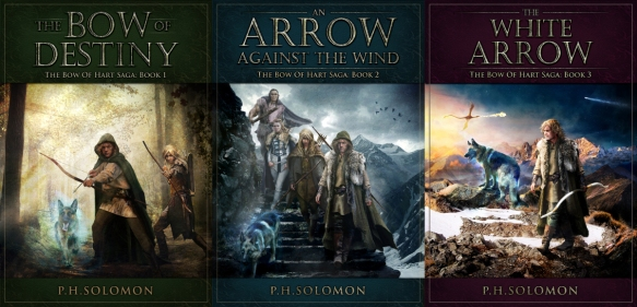 Book covers for the fantasy series Bow of Hart by P.H. Solomon