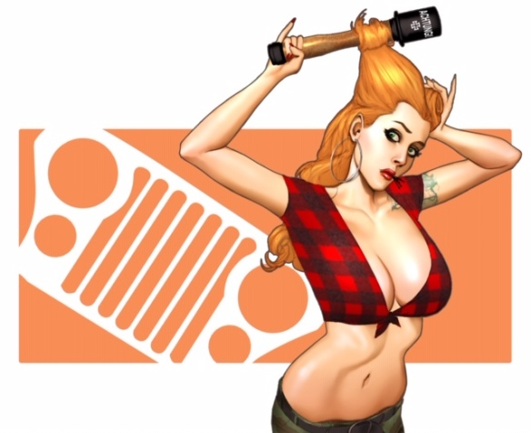 illustration of sexy red head in revealing midriff plaid shirt and jeans, curling her hair with a grenade