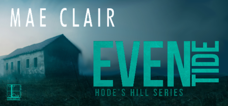 Banner ad for Eventide, a mystery novel by Mae Clair, features a dilapidated old house
