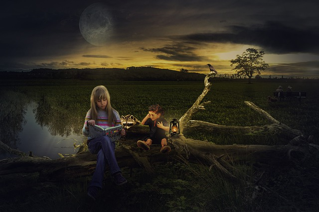 Young girl sitting on a log at night with moon in background, open book on her lap, young boy in background reading by lantern light; whimsical and magical image