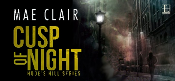 Book banner header for Cusp of Night by Mae Clair shows single streetlamp on a dark corner