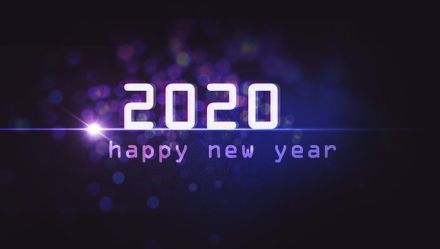 2020 in bold white on starry purple background with words happy new year in smaller gradient text beneath